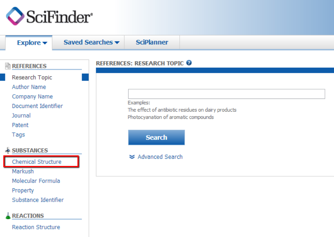 SciFinder screenshot with Chemical Structure selected