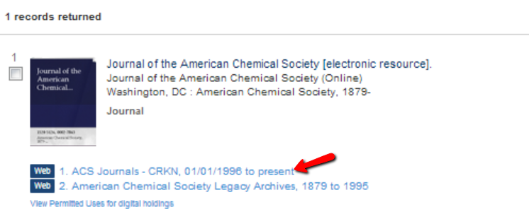 JACS catalogue search result