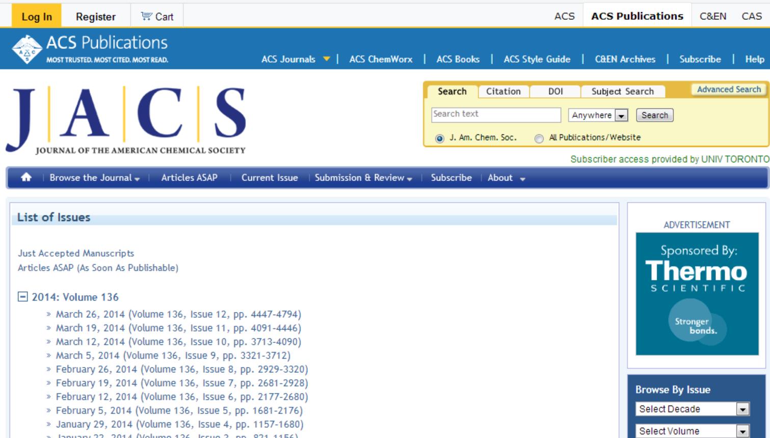 JACS homepage
