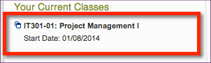 Screenshot of course listing in PG Campus portal.