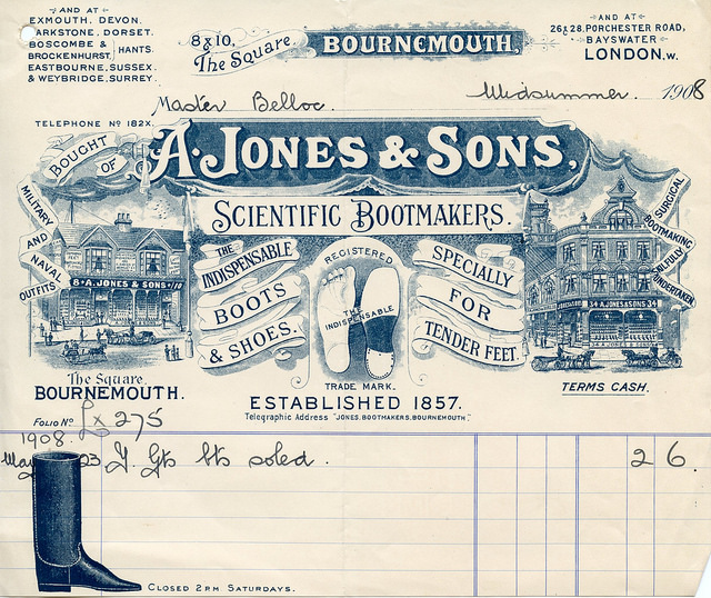 Receipt from A. Jones & Sons Bootmakers, London,  John J. Burns Library Belloc Ephemera
