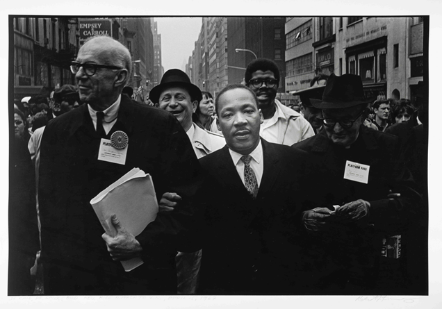Dr. Benjamin Spock, Dr. King, and Monsignor Rice of Pittsburgh march in the Solidarity Day Parade at the United Nations Building