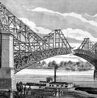 """The Great Bridge at St Louis: Erection of the Superstructure."""