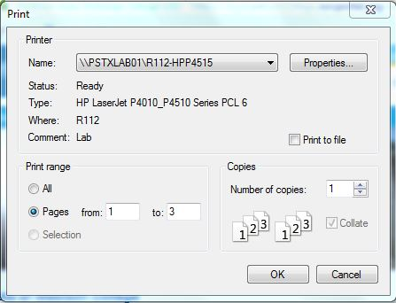 Screenshot showing how to print custom page range in firefox and internet explorer