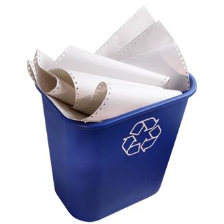 Recycling bin with paper in it