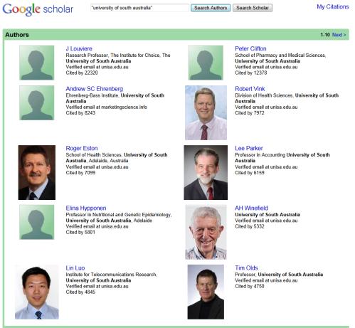UniSA Researchers with Google Scholar Citation Profile (Image Source: Google Scholar)