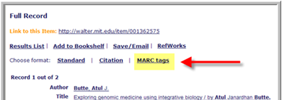 click MARC tags