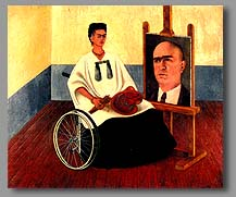 Frida Kahlo in wheelchair painting