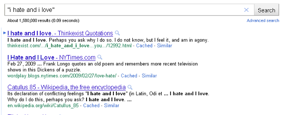 "Searching ""i hate and i love"" with quotes"