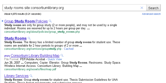 An example of searching just the Consortium Library