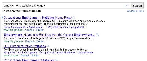 An example search of .gov