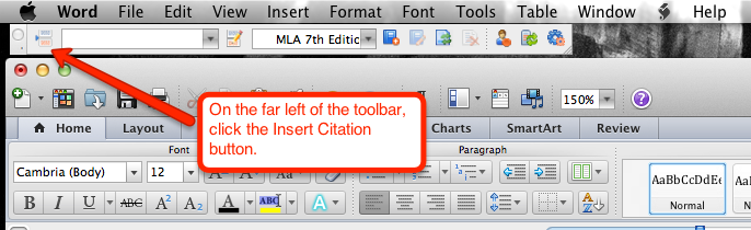 On the far left of the toolbar click Insert Citation.