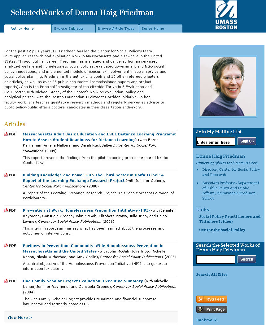 Donna Friedman's Author Page in ScholarWorks.