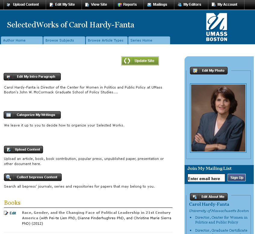 The editor screen of Carol Hardy-Fanta's Author Page in ScholarWorks.