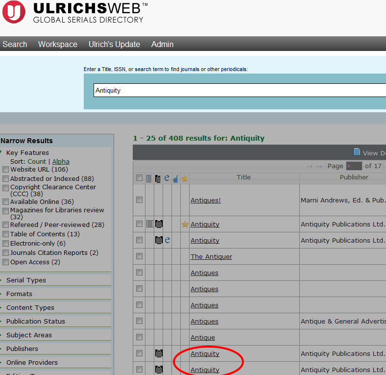 Ulrichs Peer Review Article Search