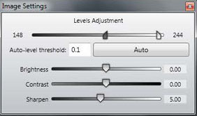 Choosing Manual Adjust allows the Settings to be controlled by the user