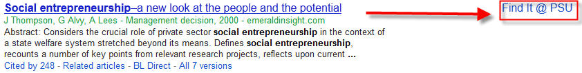 screenshot of Google Scholar result with Find it @ PSU link on the right