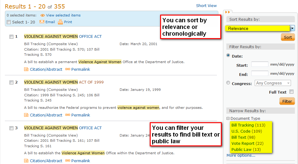 Sorting and filtering in ProQuest Congressional