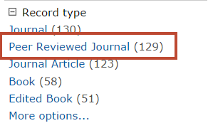 "Select ""Peer Reviewed Journal"" from Record Type"