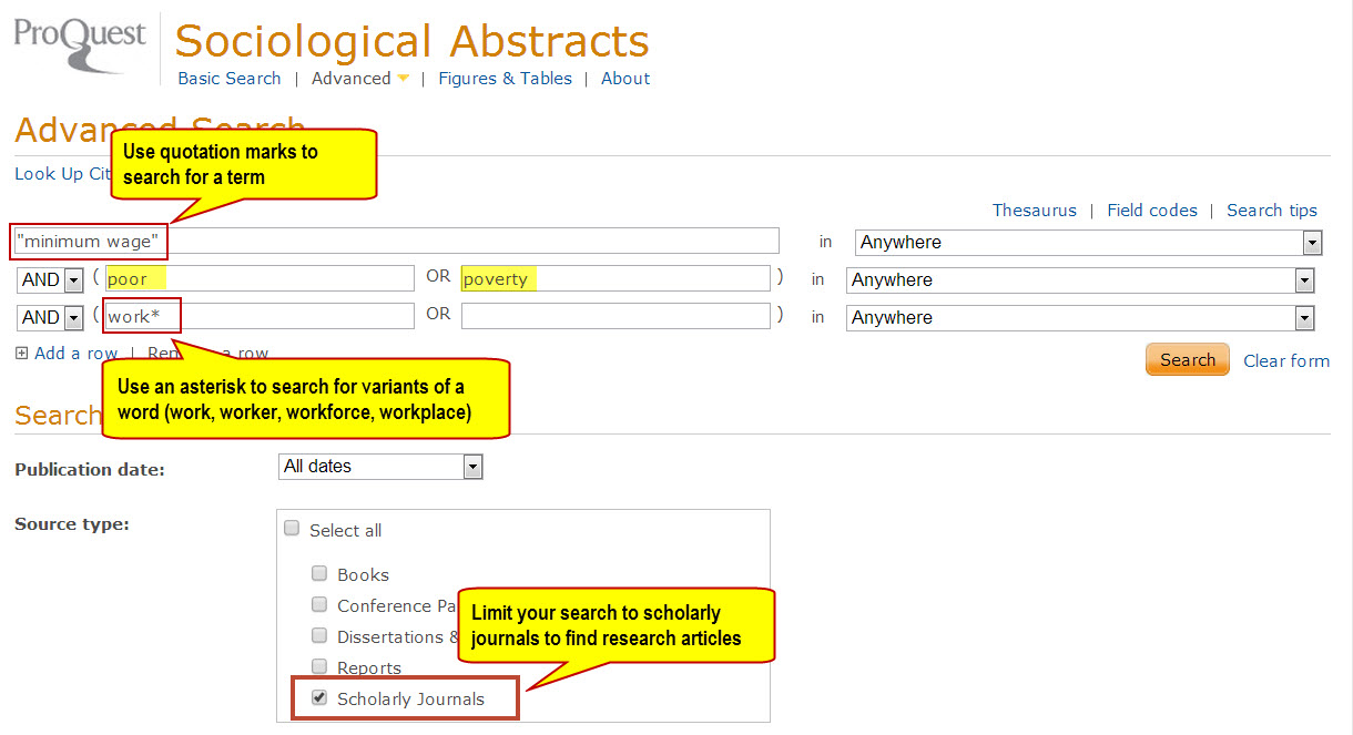 tips for searching sociological abstracts