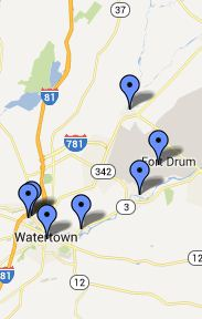 Map of Fort Drum Local Libraries