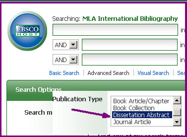 M L A International Bibliography publication type search options