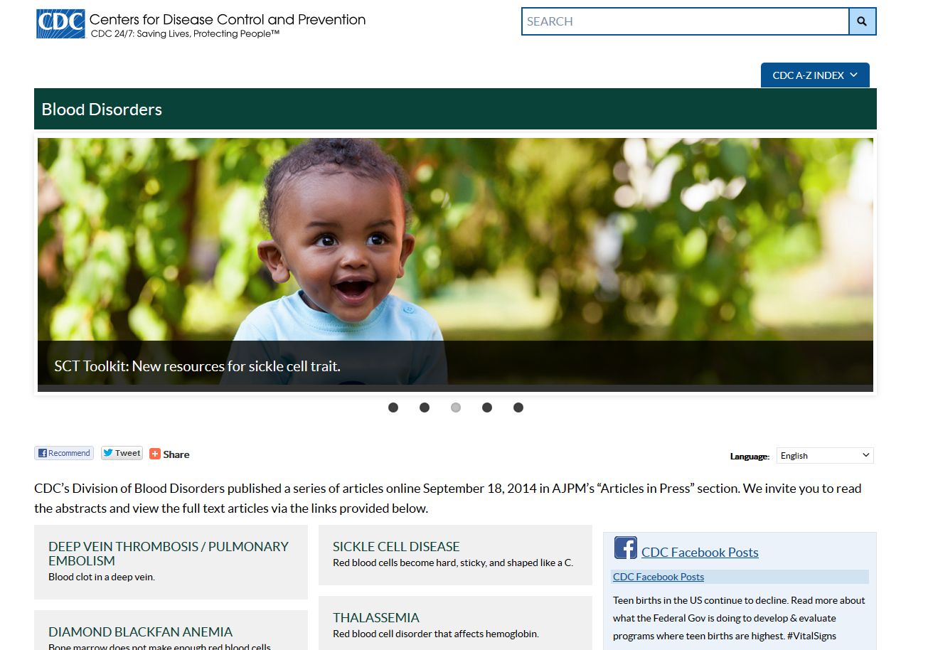 CDC website on Blood Defects