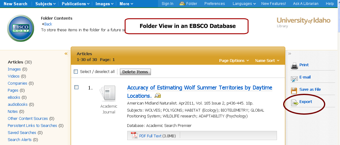 EBSCO Folder View