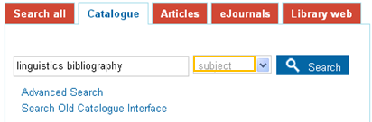"""Screenshot of the library catalogue webpage with """"linguistic bibliography"""" in the search field and the """"subject field"""" chosen"""