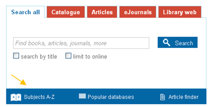 Screenshot of the library catalogue webpage with an arrow indicating the Subjects A-Z field