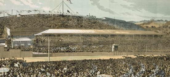 Coloured illustration of the finish of the 1881 Melbourne Cup. Much of the detail is of the massive crowd on both sides of the racetrack. View of the large grandstands.