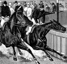 Black and white illustration of the running of the 1883 Melbourne Cup, with the horses running around a bend