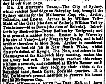 Bells Chronicle 29 Sept 1861 p.3, article listing and describing the horses from De Meistre's team: Archer, Inheritor, Exeter.