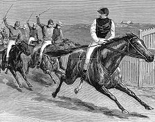 Black and white print of a woodcut showing Carbine with jockey, holding a clear lead, looking back at rival horses and their jockey's brandishing whips.