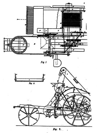 Line drawings of the Sunshine harvester from different angles. Inventor: Hugh McKay.  Patent number 4006 of 1885.