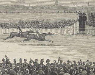 THE RACE FOR THE MELBOURNE CUP [VIC.] [cropped image] [picture] / F. A. Sleap [engraver]  IAN08/11/84/169. Black and white woodcut print of 1884 Melbourne Cup race, depicting Malau half a length ahead near the winning post. Foreground depicts hat wearing crowd following the race.