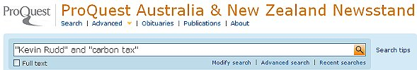 Proquest ANZ newsstand phrase search