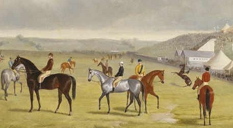 Painting of mounted Horses standing on the Flemington racetrack. The 1865 Melbourne Cup winner, Toryboy, is the grey horse in the middle of the picture. Grandstand is on the right, with a cloudy sky and hills in the background of the painting.