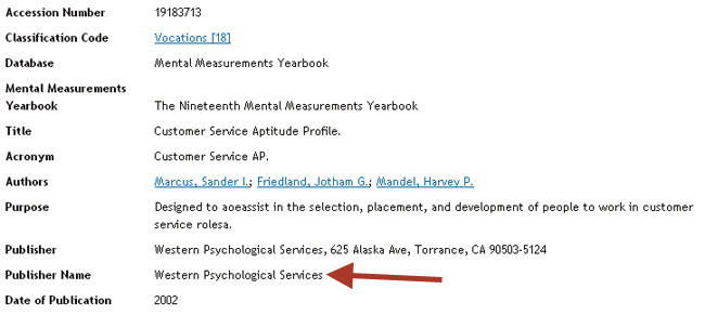 Shows tests details from a Mental Measurements search