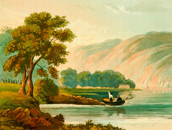 A hand-coloured aquatint of a lake with two people in a rowboat