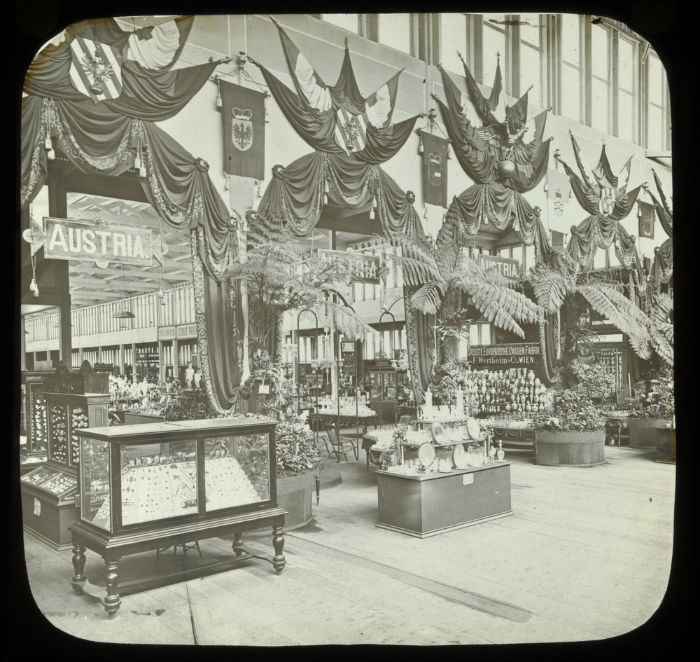 Photograph, A display of Austria's wares at the Melbourne International Exhibition 1881