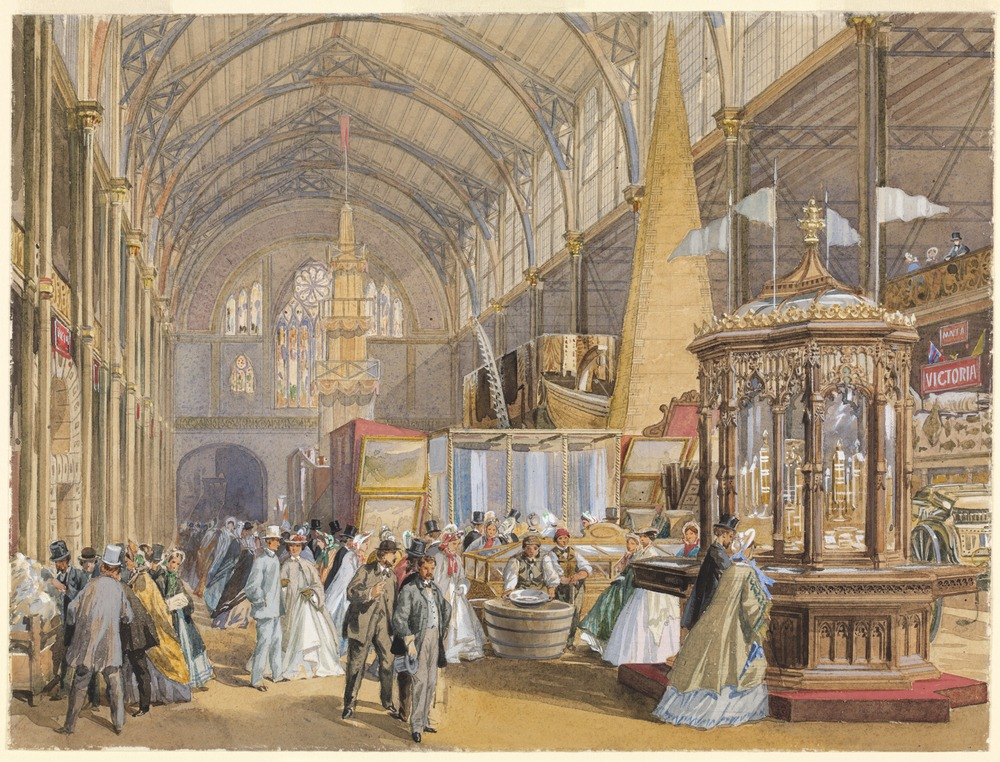 Coloured watercolour drawing, International Exhibition, Hyde Park, London, 1862: showing Victorian Section with pillar of gold, Pictures collection