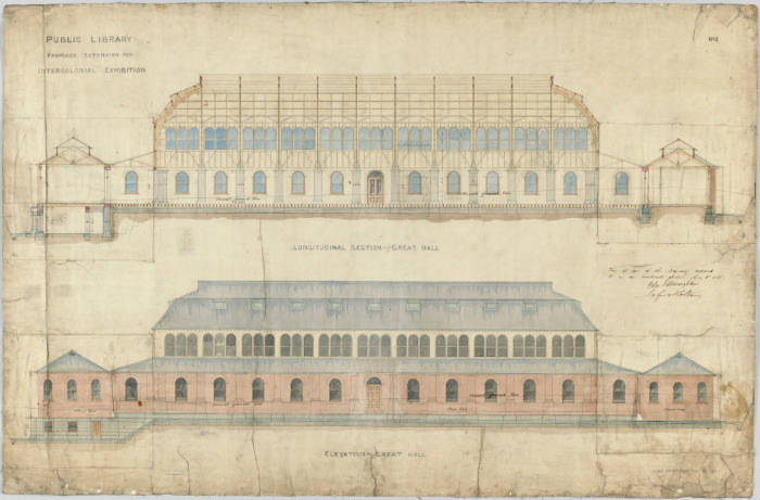 Colour architectural drawing of Melbourne Public Library. Proposed extension for Intercolonial Exhibition.