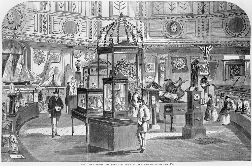 Print, wood engraving, The Intercolonial Exhibition: interior of the rotunda