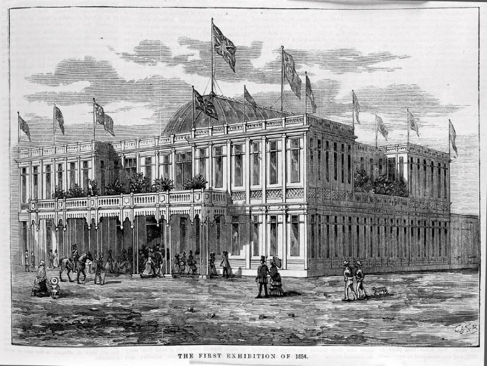 Print, wood engraving, exterior of the Melbourne Exhibition building, for the first Exhibition of 1854