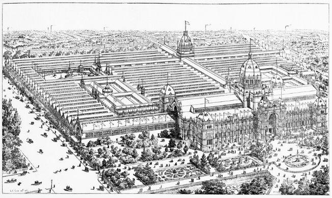 Print, wood engraving, Melbourne Centennial Exhibition, 1888: bird's-eye view of the buildings