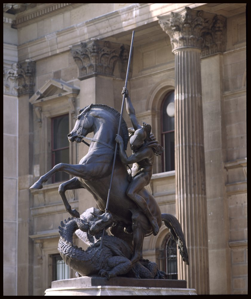 Photograph, statue of St. George on his horse, slaying the dragon, currently located in the forecourt of the State Library of Victoria