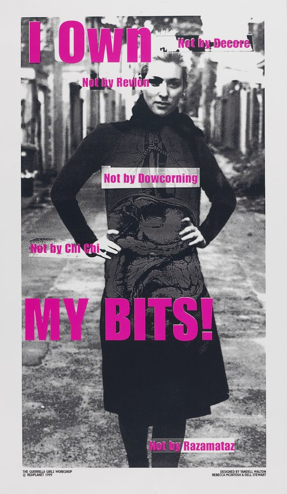 Feminist poster with black and white image of woman, overlaid with pink writing, Yandell Walton, Rebecca McIntosh & Dell Stewart, I own MY BITS!,