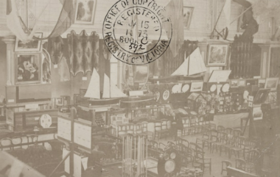 Photograph, International Exhibition Melbourne, showing furniture, models of ships and other items on display