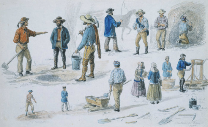 Watercolour and pencil drawing, shows various figures, including diggers, ladies and some mining equipment; Black Hill goldfields, later a suburb of Ballarat.